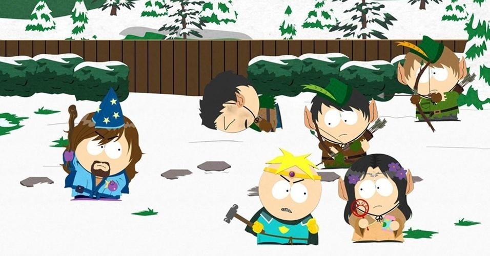 """Em """"South Park: The Stick of Truth"""" você vai se reunir com Cartman e outros garotos da vizinhança em uma aventura 2D que mistura elementos de diversos jogos de RPG."""