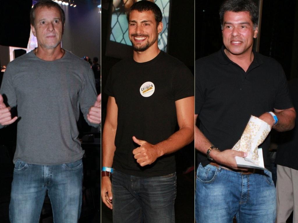 Marcelo Novaes, Cauã Reymond e Maurício Mattar vão a evento de MMA de Rickson Gracie no Vivo Rio, no Flamengo, Rio de Janeiro (22/11/12)