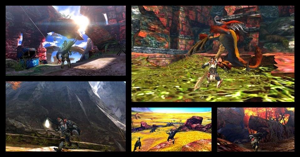 """""""Monster Hunter 4"""" foca mais na ação e aventura, mas continua sendo um game de enfrentar criaturas cada vez mais fortes para conseguir itens melhores"""