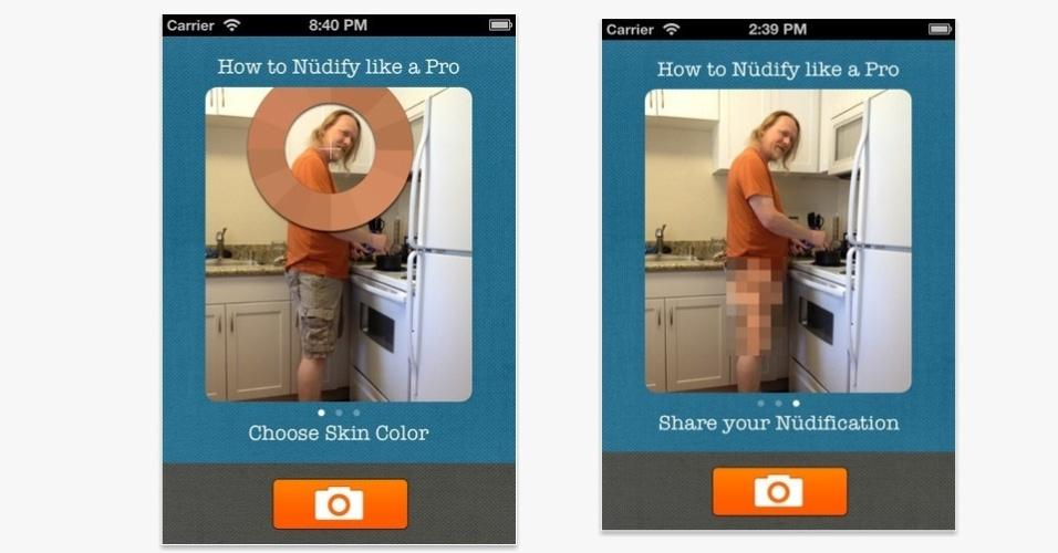 """O aplicativo """"Nudifier"""", para iPhone, iPod e iPad, é capaz de substituir algumas áreas das imagens por outras cores, como na foto, deixando a pessoa que está na foto """"sem roupa"""". Além disso, também funciona com estátuas e outras coisas. Grátis por tempo limitado. Clique em """"Mais"""" para baixar o app"""