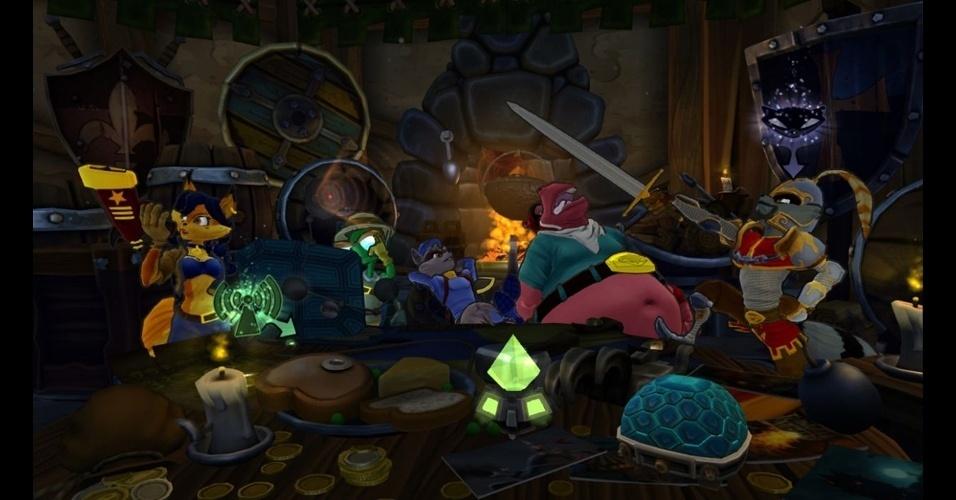 """Sly e sua turma terão novos desafios em """"Sly Cooper: Thieves in Time"""" para PS3 e PS Vita - além de novos vilões na cola"""