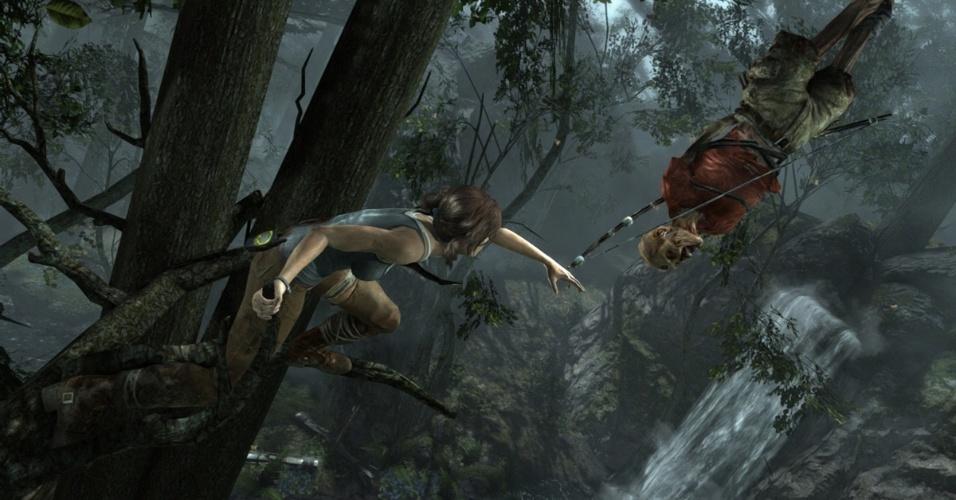 """""""Tomb Raider"""" revigora as aventuras de Lara Croft com uma versão mais nova da heroína e uma ilha sinistra cheia de mistérios"""