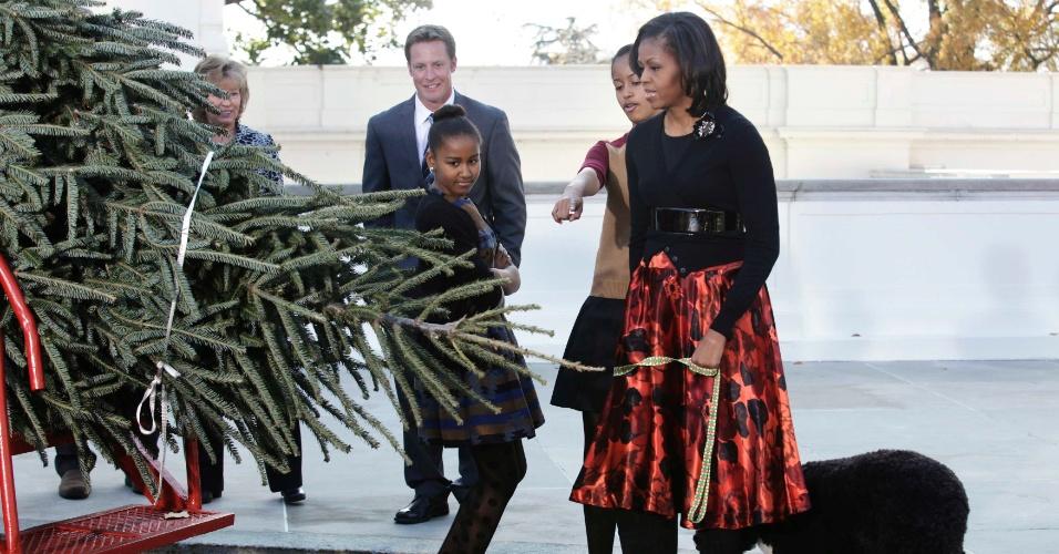 23.nov.2012 - A primeira-dama Michelle Obama (à dir.) recebe a árvore de Natal da Casa Branca ao lado das filhas Malia (segunda à dir.) e Sasha, nesta sexta-feira (23) em Washington,