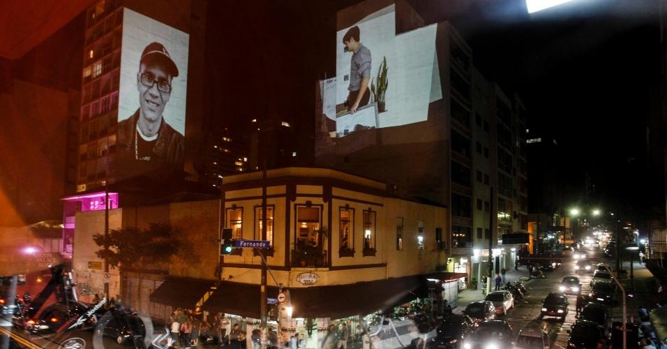 """23.nov.2012 - Imagens são projetadas em fachadas de prédios da rua Augusta, em São Paulo (SP) durante 14ª edição do projeto """"Vídeo Guerrilha"""""""
