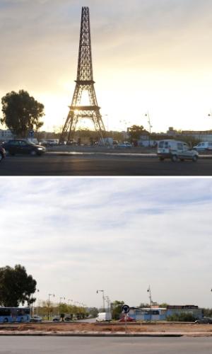 23.nov.2012 - Uma réplica da Torre Eiffel (acima) desapareceu (abaixo) na cidade de Fez no Marrocos, nesta sexta-feira (23). As autoridades ainda não têm explicação para o sumiço da peça