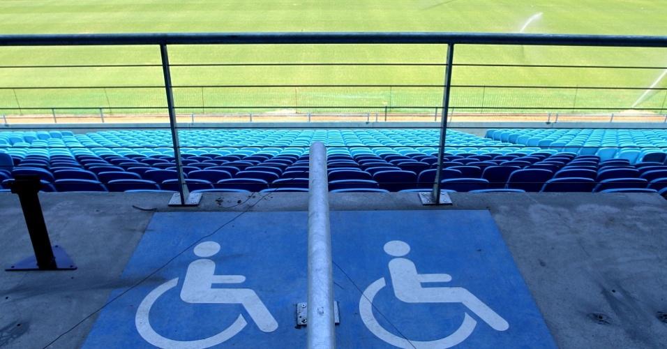 Instruções mostram espaços para cadeirantes na Arena do Grêmio