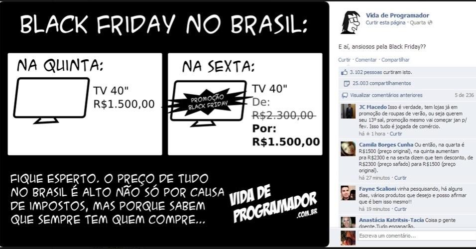 Usuário do Facebook faz piada com as ''pegadinhas'' do Black Friday no Brasil: empresas já foram acusadas de inflar os preços para baixá-los novamente no dia da promoção