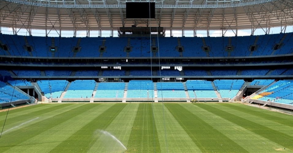 Vista do espaço destinado a Geral do Grêmio no novo estádio do clube