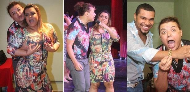 A cantora Preta Gil recebeu o promoter David Brazil e o cantor Naldo nos camarins de seu show na I9 Music em São Gonçalo, Rio de Janeiro (27/11/12)