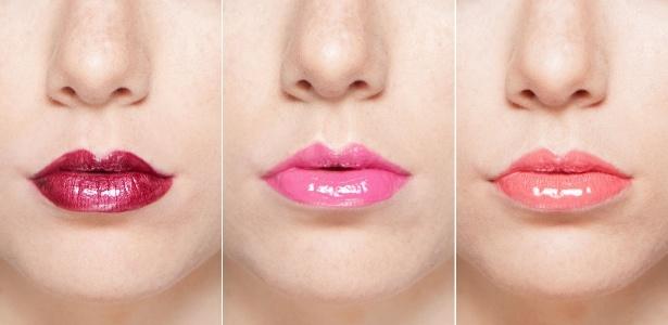 O gloss com cor intensa valoriza os lábios com o efeito espelhado