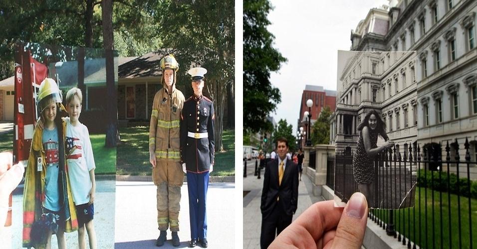 """O Tumblr """"Dear Photograph"""" (Querido fotógrafo, em português) publica fotos de usuário que ligam o passado  e o presente. Na imagem da esquerda, os irmãos realizaram o sonho de infância. Já na direita, o rapaz reencontra o local onde a mãe posou para foto há 22 anos e que hoje é seu local de trabalho"""