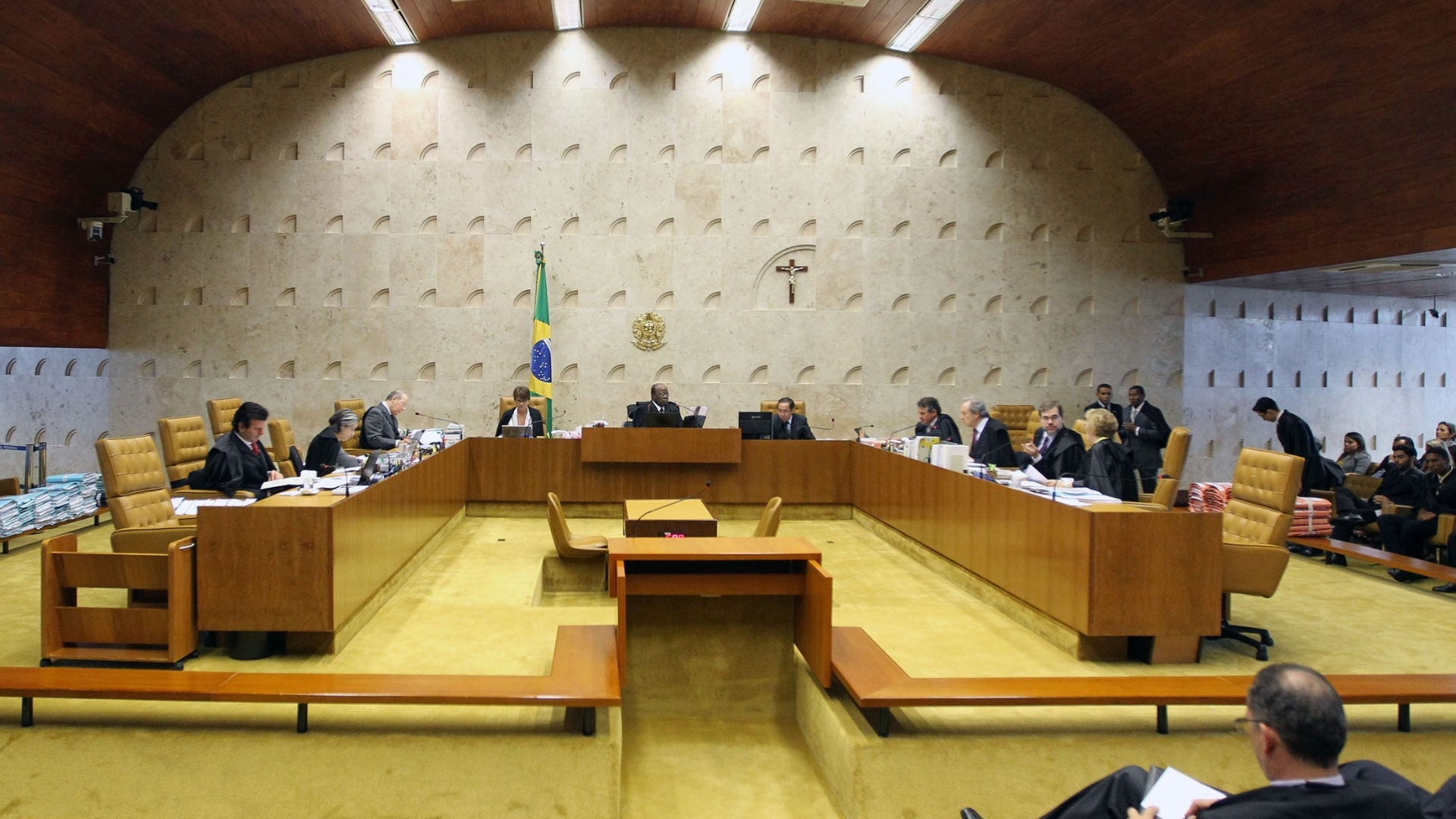 28.nov.2012 - Imagem do plenrio do STF (Supremo Tribunal Federal) durante sesso de julgamento do mensalo que dever fixar as penas do deputado federal Joo Paulo Cunha (PT-SP),  do ex-deputado federal Roberto Jefferson (PTB-RJ) e do ex-tesoureiro do PTB Emerson Palmieri