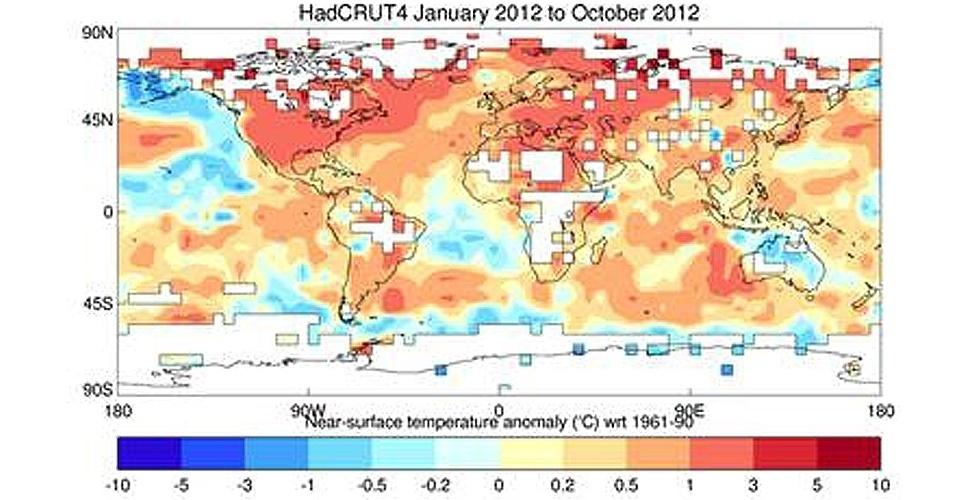 28.nov.2012 - Os dez primeiros meses de 2012 são o nono período mais quente já registrado desde 1850, data em que as medições do clima começaram a ser feitas. De acordo com o relatório anual da Organização Meteorológica Mundial (OMM, na sigla em inglês), a temperatura do planeta ficou 0,45°C acima da média de 14,2°C registrada entre 1961 e 1990, período usado como referência. Mesmo com a ocorrência da La Niña, resfriamento das águas do Pacífico, ondas de calor incomum foram sentidas na maioria do globo durante o ano