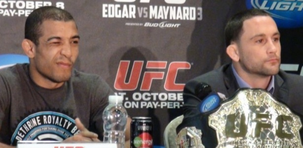 Jos Aldo e Frankie Edgar participam de coletiva do UFC, antes da edio 136, em Houston (EUA)