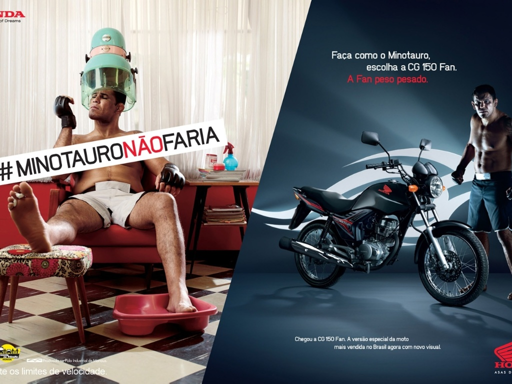 Minotauro posa em salo de beleza para campanha publicitria