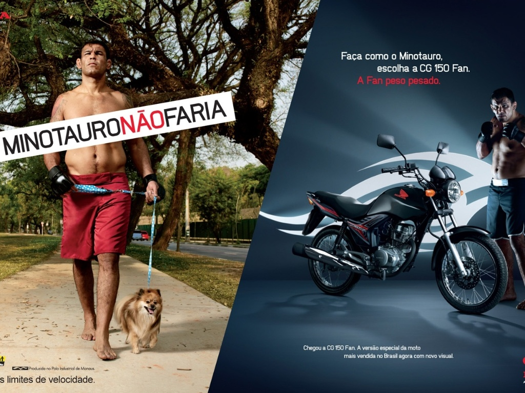 Minotauro posa para campanha de marca de motos