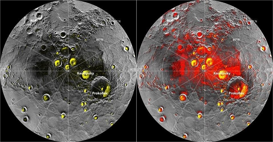 29.nov.2012 - A sonda Messenger encontrou novas evidências de água congelada em Mercúrio. Desta vez, os depósitos foram encontrados em crateras do polo norte do planeta, região que os raios do Sol não alcançam