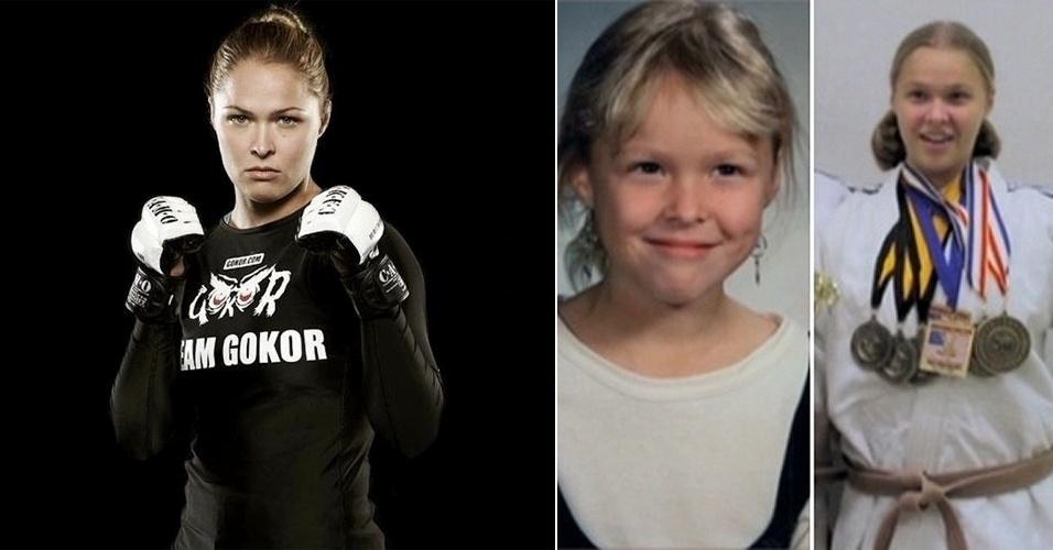 Musa Ronda Rousey, primeira mulher a assinar com o UFC, antes de suas chaves de braço