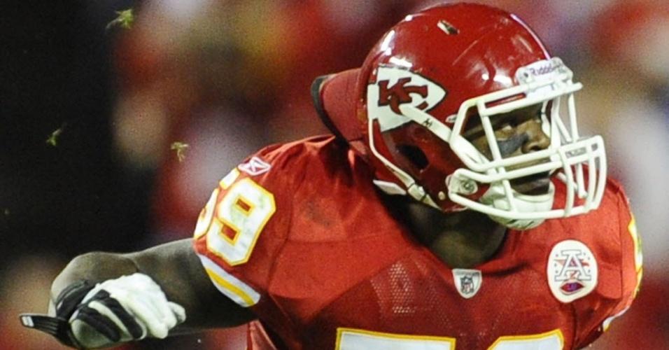 31.out.2012 - Jovan Belcher é fotografado durante jogo da NFL. O jogador do Kansas City Chiefs matou sua namorada e depois cometeu suicídio no dia 1º de dezembro de 2012
