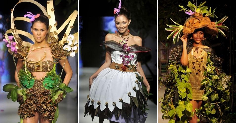 2.dez.2012 - A moda conceitual com pegada sustentável tomou conta da passarela do Desfile Biofashion Trópico 2012 em Cali, na Colômbia. Durante a apresentação, as modelos usaram vestidos