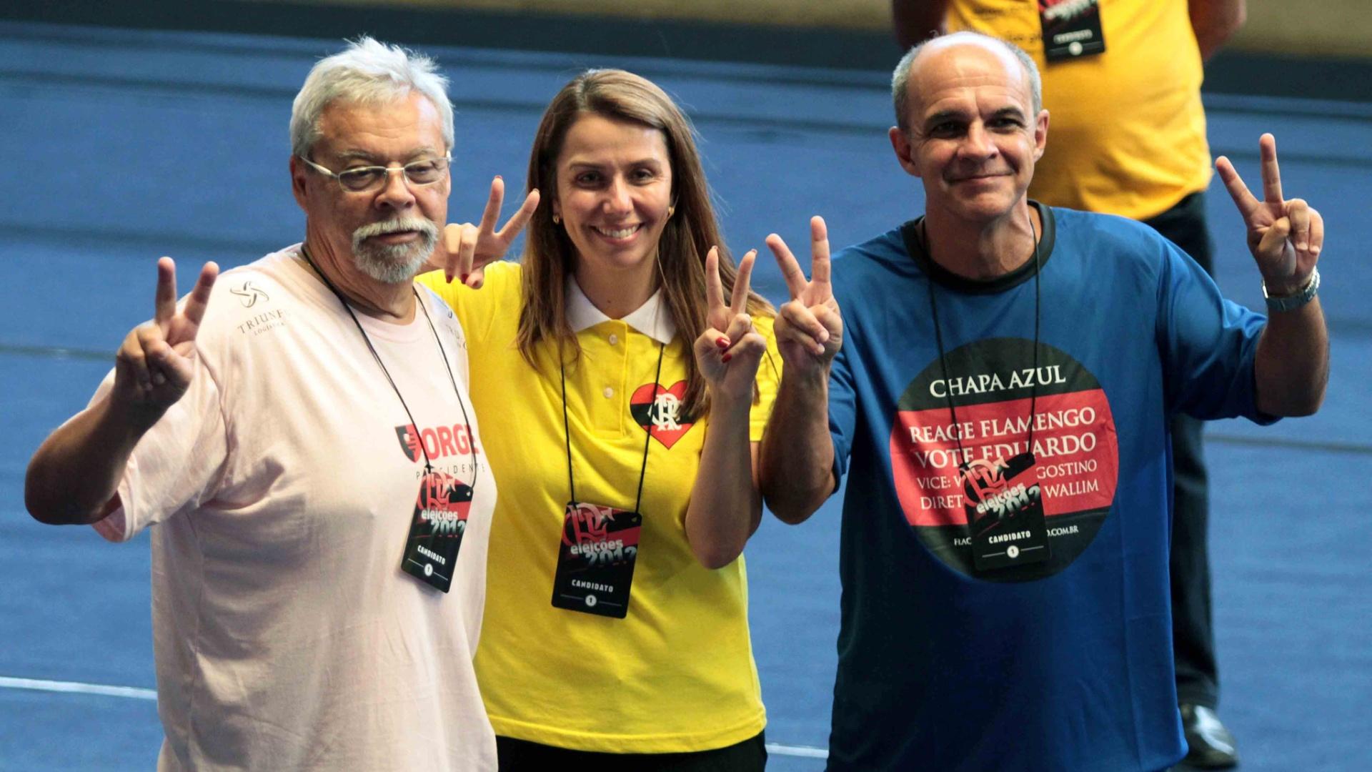 Jorge Rodrigues, Patricia Amorim e Eduardo Bandeira de Mello, candidatos à presidência do Flamengo (03/12/2012)