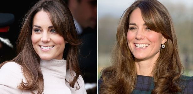 Kate Middleton se rende à tendência da temporada e adota a franjinha lateral no look