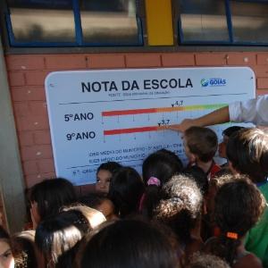 """Crianças na frente de uma placa onde lê-se """"Nota da Escola""""."""