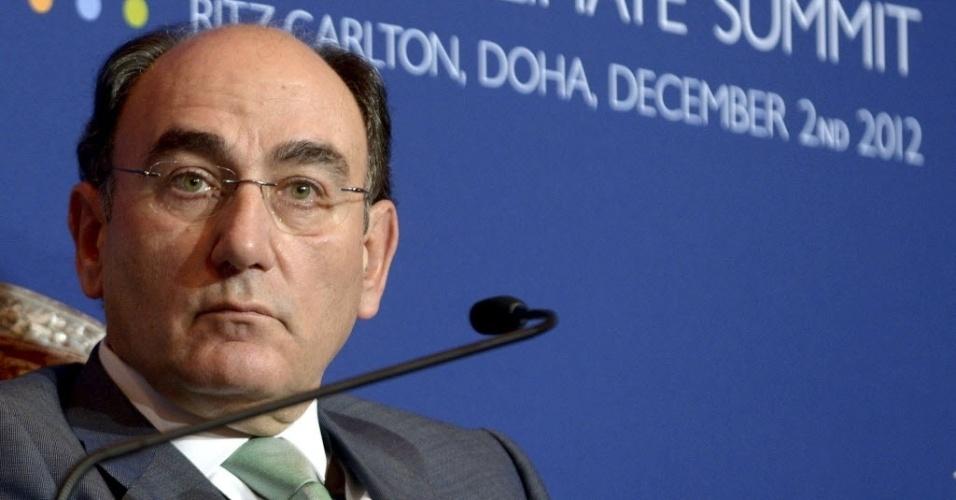 2.dez.2012 - Ignacio Sánchez Galán, presidente da Iberdrola, a maior companhia energética da Espanha, faz uma apresentação na COP 18, neste domingo (2)
