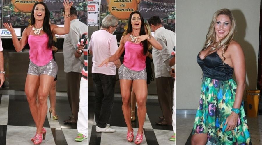 4.dez.2012 - Gracyanne Barbosa e Ângela Bismarchi participaram de uma gravação de um programa de TV no Rio