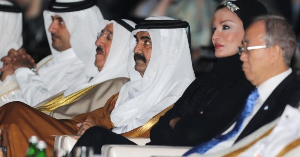 4.dez.2012 - Representantes do Kuwait e do Catar assistem ao discurso de Ban Ki-moon, secretário-geral da ONU (Organização das Nações Unidas).