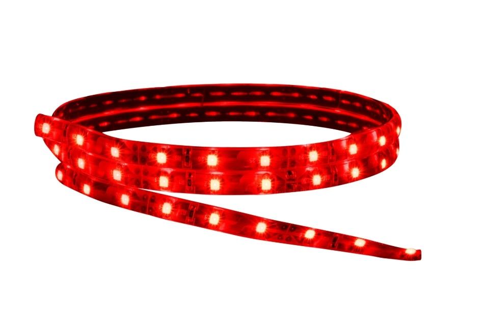 Com largura de 12 mm, a fita Flex LED, da Avant (www.avantsp.com.br), pode ser usada em ambientes externos. O produto tem 100 metros de extensão, com 60 LEDs por metro. Disponível nas cores branca, neutra, vermelha, azul, verde e âmbar, a fita é vendida por R$ | Preços consultados em novembro e sujeitos a alterações