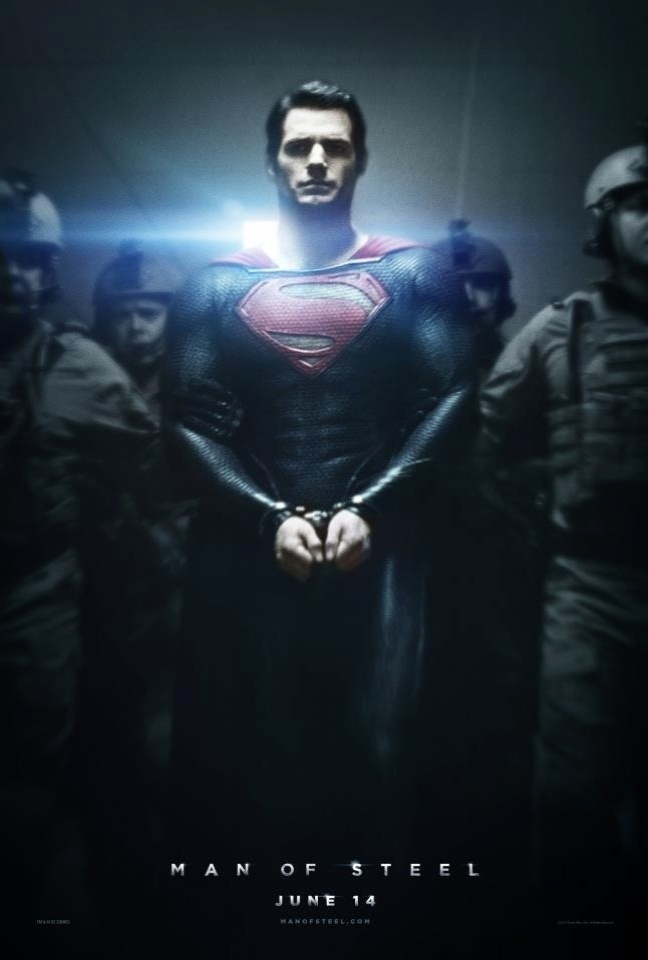 """Super-Homem, interpretado por Henry Cavill, aparece algemado em novo pôster de """"O Homem de Aço"""". Dirigido por Zack Snyder, o filme tem estreia prevista para 14 de junho de 2013, nos Estados Unidos, e em 12 de julho no Brasil. Russell Crowe, Kevin Costner e Amy Adams também estão no elenco"""