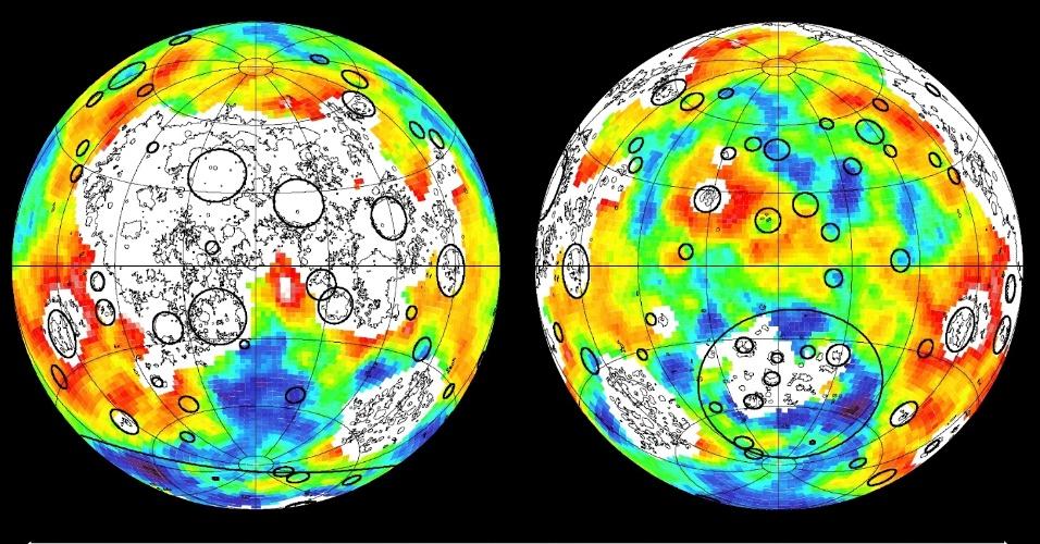 """5.dez.2012 - A gravidade da Lua influencia diretamente a superfície do satélite, de acordo com novos dados obtidos por duas sondas da Nasa (Agência Espacial Norte-Americana). """"Quando vemos uma mudança significativa no campo de gravidade, podemos sincronizá-la com as alterações na superfície lunar, como crateras, riachos e montanhas"""""""