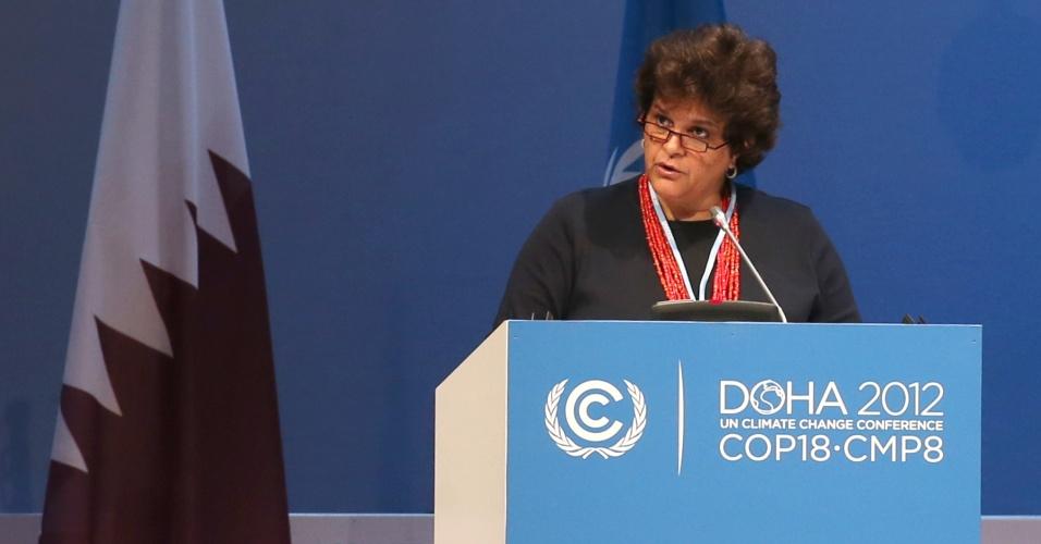 """5.dez.2012 - A ministra do Meio Ambiente do Brasil, Izabella Teixeira, defendeu a segunda fase do Protocolo de Kyoto no seu discurso na COP 18, a conferência do clima da ONU (Organização das Nações Unidas). Segunda a ministra, o novo tratado é a melhor forma de """"garantir um regime sólido de mudança do clima"""""""