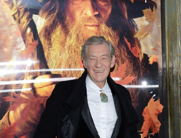 6.dez.2012 - Ian McKellen na pré-estreia de O Hobbit: Uma Jornada Inesperada em Nova York