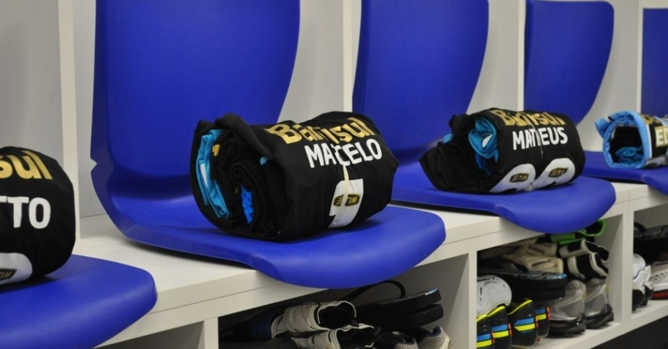 Vestiário da Arena com uniforme de jogo do Grêmio para confronto com o Hamburgo (08/12/12)