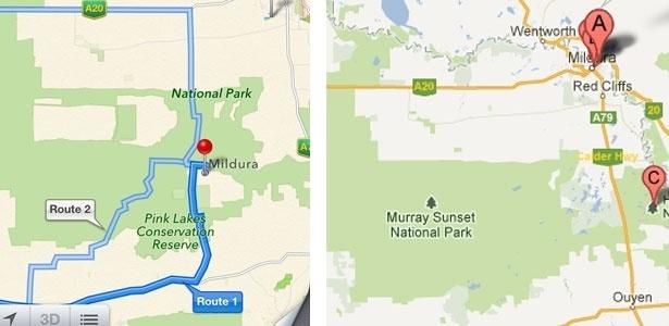 """À esquerda, o mapa da Apple, que coloca a cidade de Mildura dentro do parque. À direita, o mapa do Google, que mostra a real distância entre o parque e a cidade (localizada onde está a marcação do balãozinho """"A"""")"""