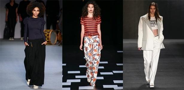 Bianca Marques, Nica Kessler e Triton desfilam diferentes modelos de calças amplas