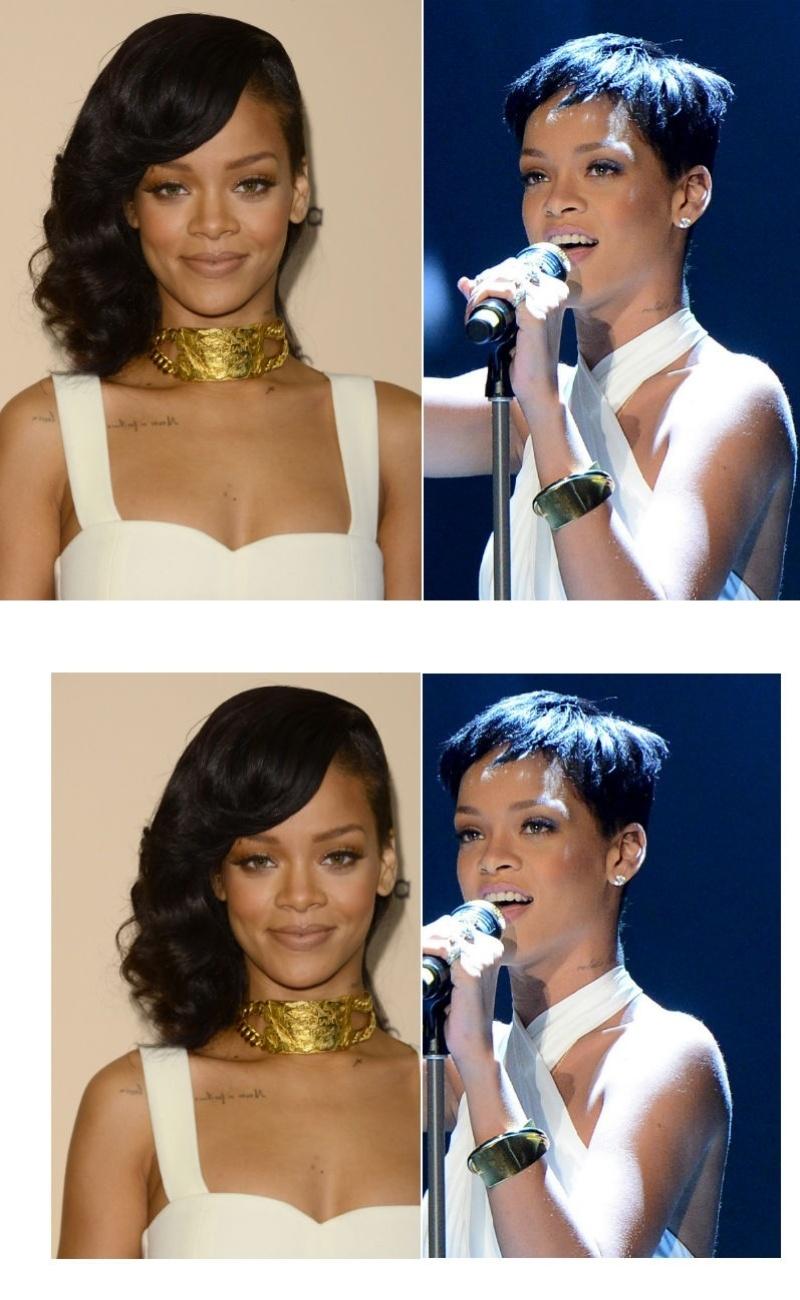Rihanna com cabelo curto de novo