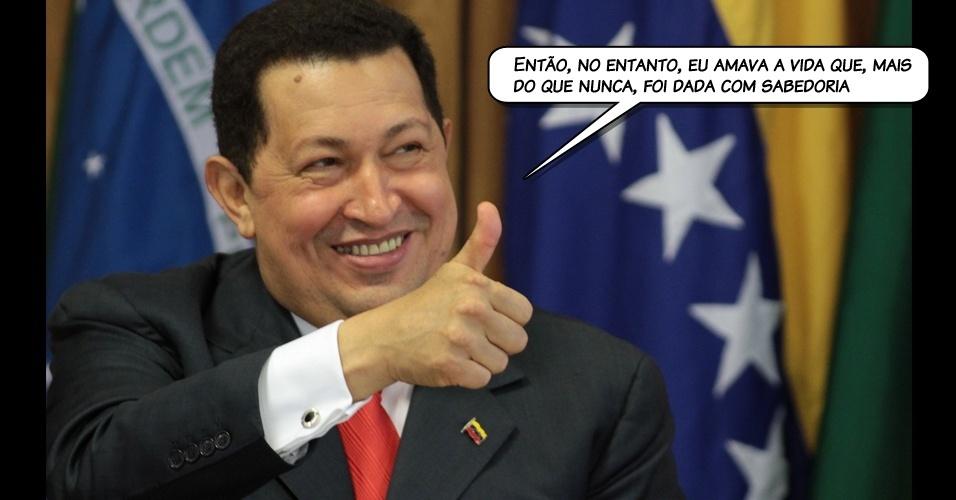 14.jul.2011 - Em entrevista por telefone, Chávez cita uma frase de Nietzsche para definir seu estado espírito