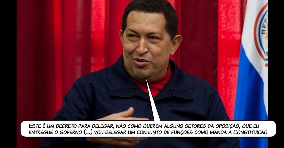 18.jul.2011 - Chávez durante um conselho extraordinário de ministros, realizado no mesmo dia de sua partida a Havana, em Cuba