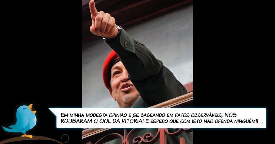 21.jul.2011- Chávez ao comentar, no Twitter, a desclassificação da seleção da Venezuela da Copa América