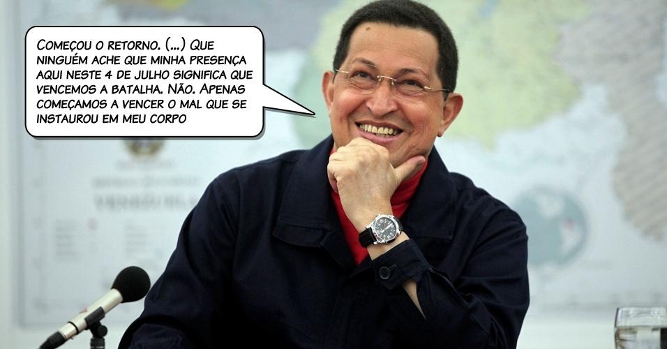 4.jul.2011 - Chávez em seu primeiro pronunciamento em Caracas depois de ficar quase um mês fora do país, em frente do Palácio de Miraflores, sede do governo venezuelano
