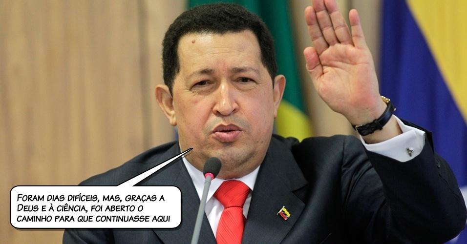 4.jul.2011- Chávez em entrevista por telefone à TV estatal venezuelana no seu retorno a Caracas, após ficar um mês em Cuba, para tratamento