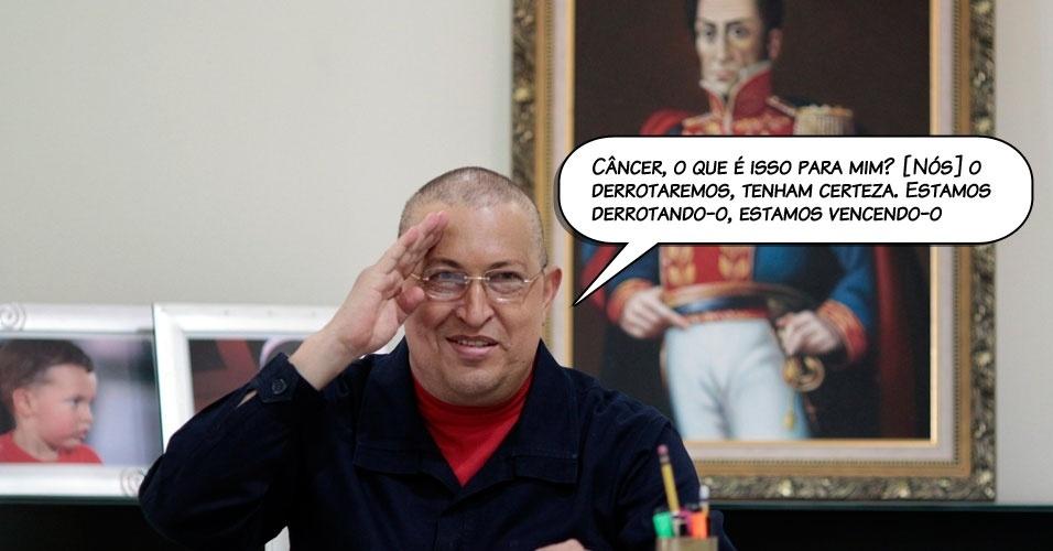 5.ago.2011 - O presidente venezuelano, Hugo Chávez, antes de iniciar a segunda fase da quimioterapia