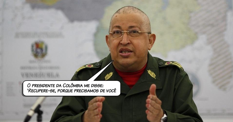 5.ago.2011 - O presidente venezuelano, Hugo Chávez, ao comentar a declaração do presidente colombiano, Juan Manuel Santos, sobre sua doença