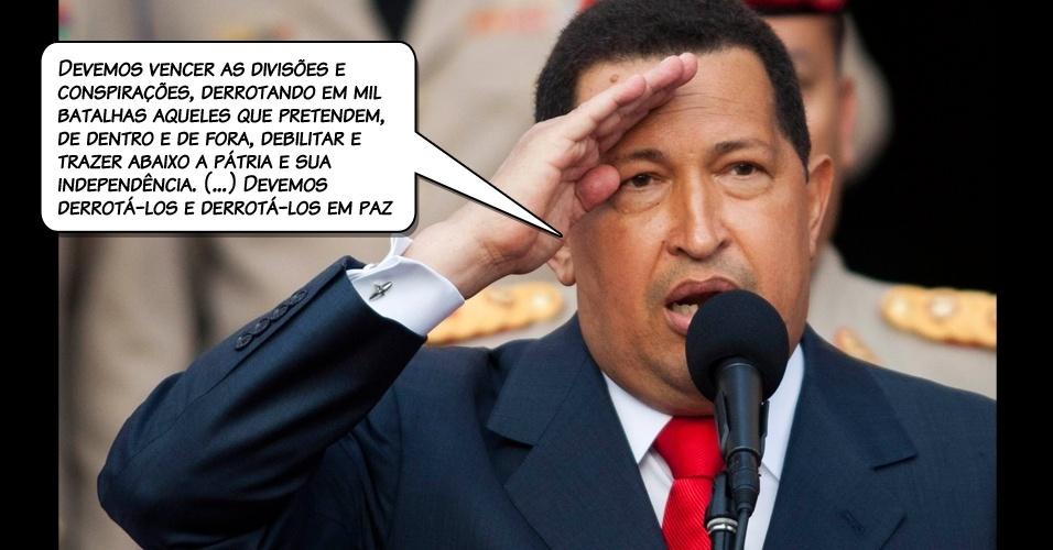 5.jul.2011 - Chávez, sem identificar a quem se referia, em discurso no Palácio de Miraflores, a sede da Presidência venezuelana