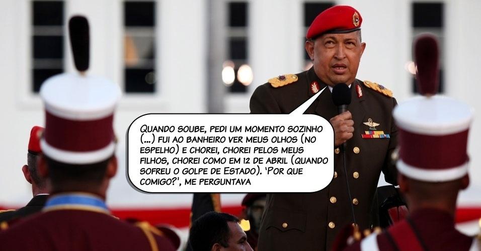 7.ago.2011 - Chávez ao comentar, em entrevista transmitida na TV venezuelana, a sua reação ao receber de Fidel Castro a notícia de que estava com câncer