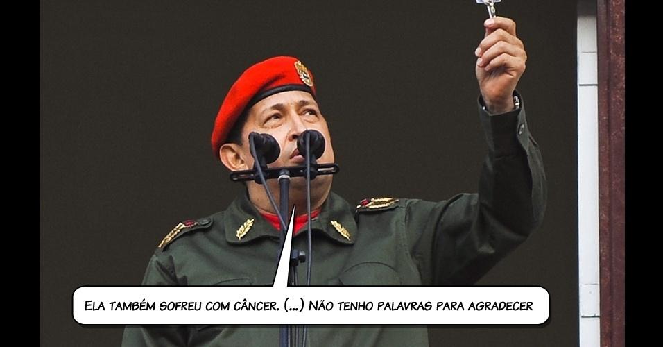 7.jul.2011 - Chávez agradece a presidente Dilma Rousseff, que colocou à disposição do venezuelano os hospitais brasileiros para que ele se tratar do câncer