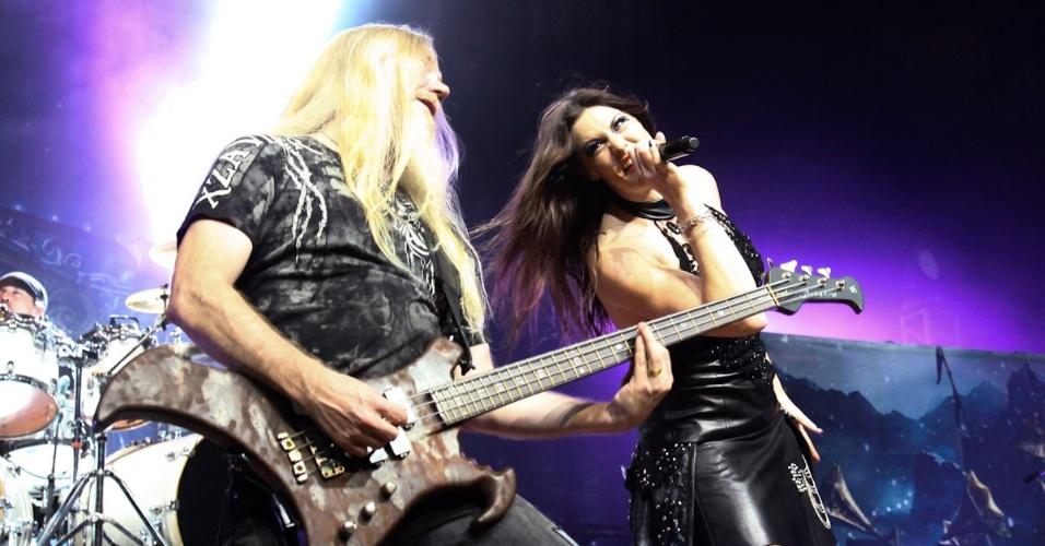 12.dez.2012 - Banda finlandesa Nightwish faz apresentação única no Brasil no Credicard Hall, no bairro de Santo Amaro, em São Paulo